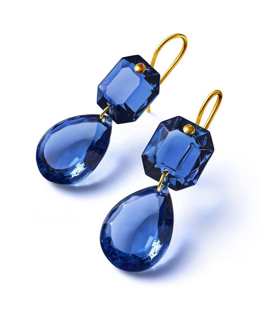 Baccarat - Blue Crystal Drops Of Colour Earrings - Lyst
