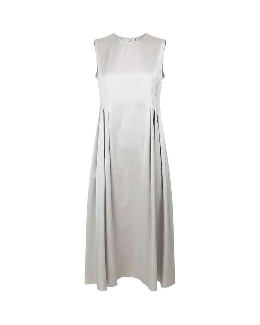 Max Mara - Gray Pleated Satin Mini Dress - Lyst