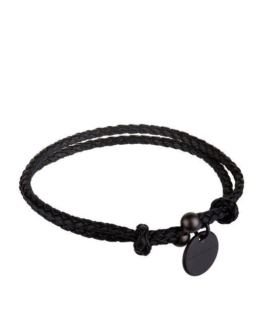 Bottega Veneta - Black Leather Intrecciato Bracelet for Men - Lyst