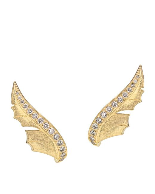 Stephen Webster - Metallic Yellow Gold And Pav Diamond Magnipheasant Stud Earrings - Lyst