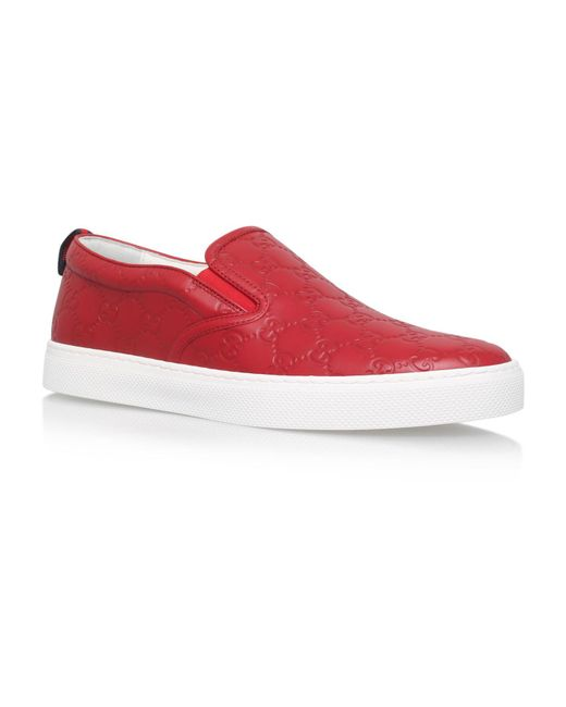 Lyst - Gucci Dublin Logo Skater Shoes in Red for Men ... - photo #29