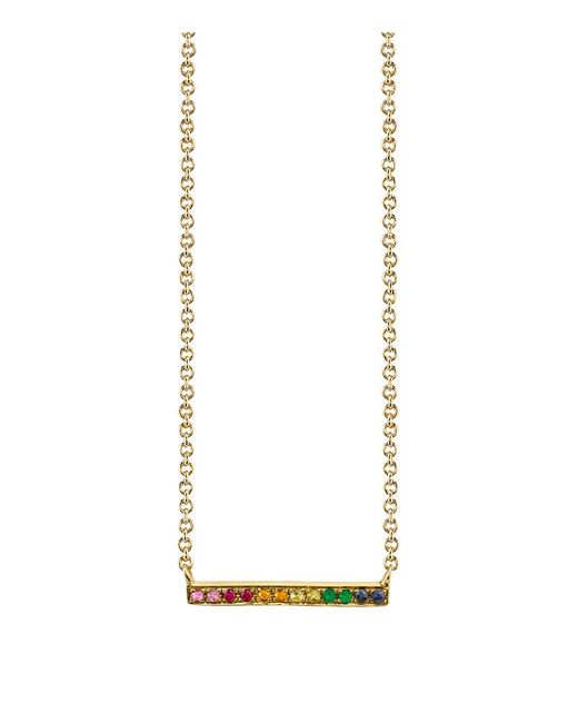 Sydney Evan | Metallic Rainbow Multicolor Sapphire, Emerald & 14k Yellow Gold Long Bar Necklace | Lyst