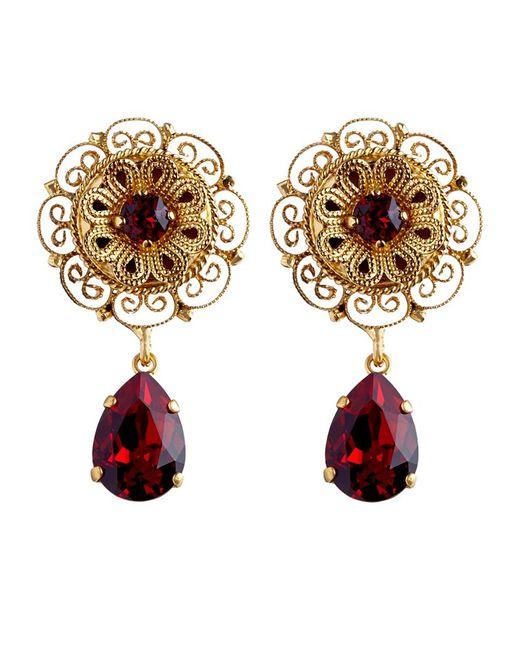 Dolce & Gabbana | Metallic Crystal Teardrop Earrings | Lyst
