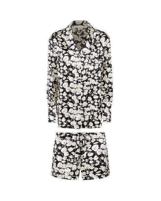 Olivia Von Halle   Black Sabine Print Short Alba Silk Pyjamas   Lyst