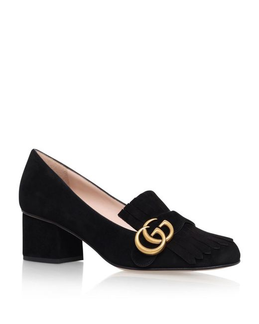 Gucci Marmont Fringed Suede Loafers In Black Save 24 Lyst