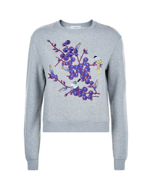 Carven floral embroidered sweatshirt in multicolour lyst