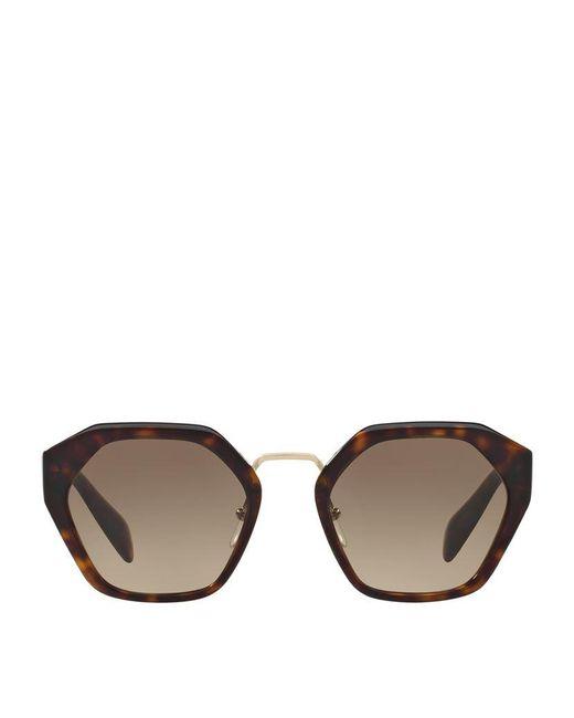 Prada | Brown Irregular Sunglasses | Lyst