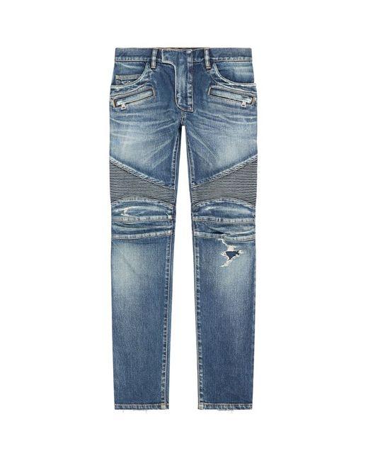 Balmain   Blue 17cm Distressed Denim Biker Jeans for Men   Lyst