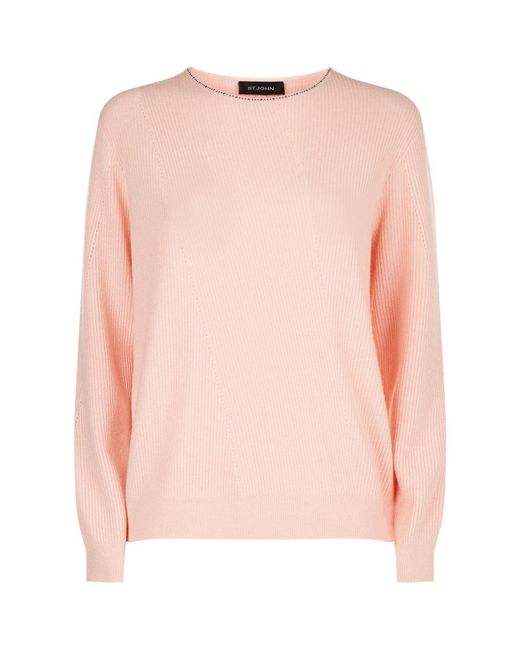St. John | Pink Embellished Cashmere Sweater | Lyst