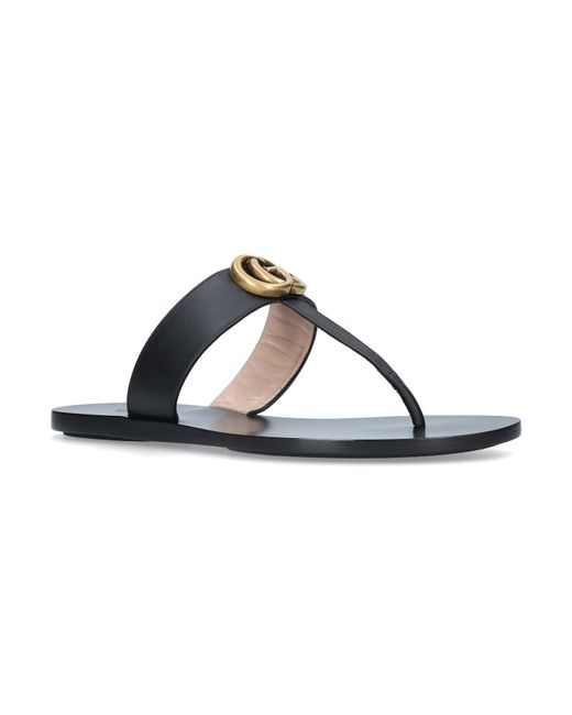 b645c051b61 Gucci Leather Marmont Sandals in Black - Lyst