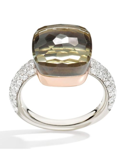 Pomellato - White Nudo Prasiolite And Diamond Maxi Ring - Lyst