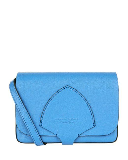 Burberry - Blue Leather Equestrian Shield Cross Bodybag - Lyst