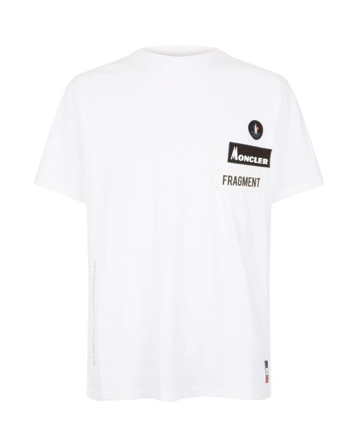 3a44e0724 Moncler Logo Patch T-shirt in White for Men - Lyst