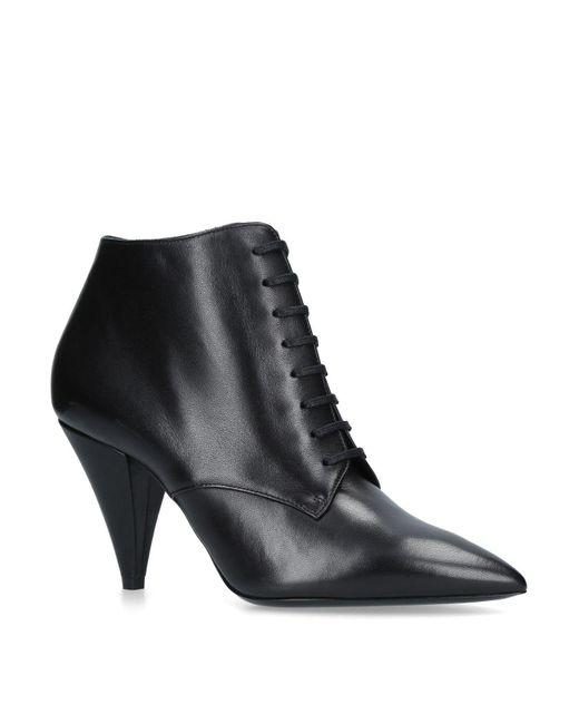 Saint Laurent - Black Leather Era Lace Up Boots 85 - Lyst
