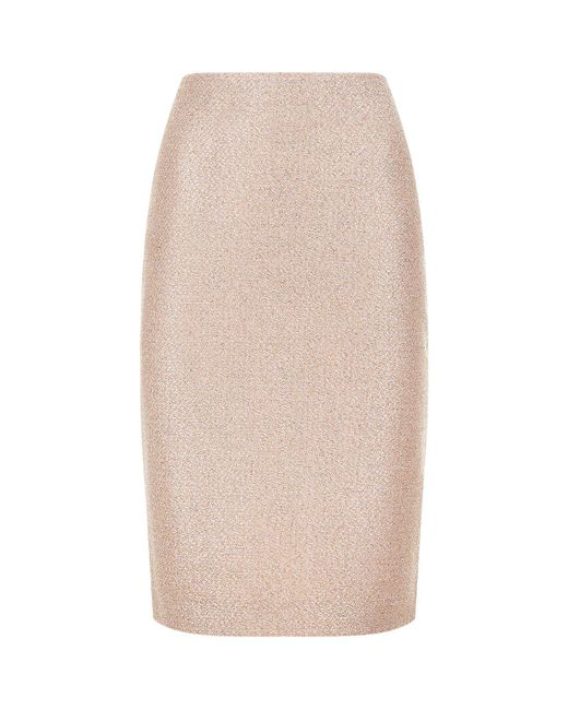 St. John - Pink Frosted Metallic Knit Pencil Skirt - Lyst