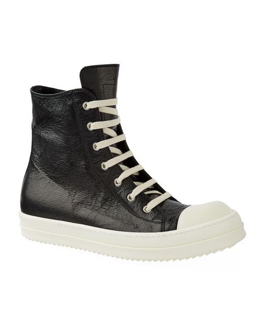 Rick Owens | Black Leather High-top Sneakers for Men | Lyst