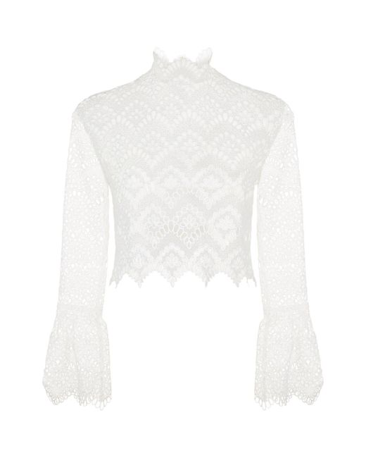 Nicholas | White Antique Lace Bell Sleeve Top | Lyst