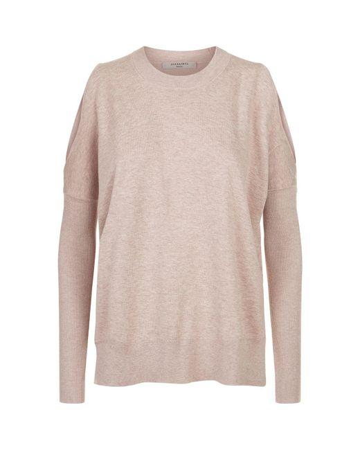 AllSaints | Pink Reya Cold Shoulder Jumper | Lyst