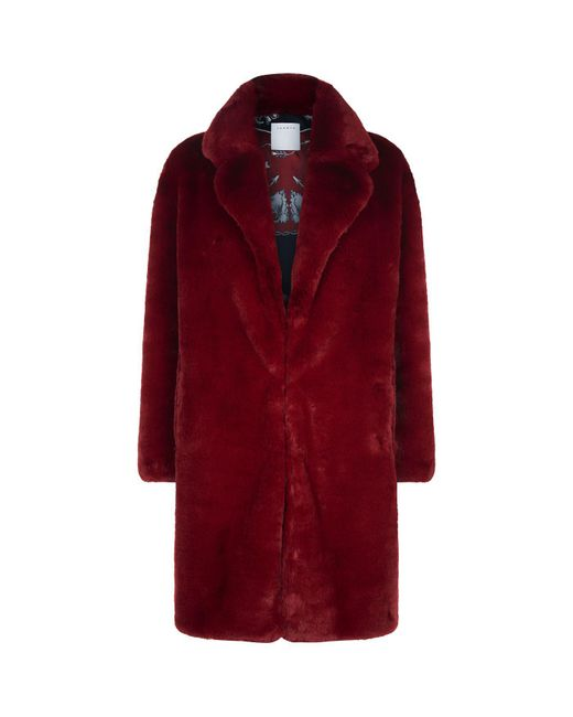 Sandro - Red Oversized Faux Fur Coat - Lyst