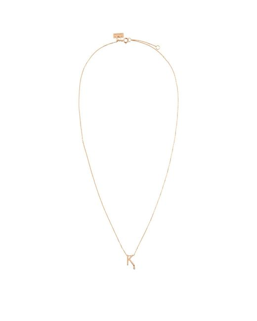 Vanrycke - Metallic Rose Gold And Diamond Abcdaire Letter K Necklace - Lyst