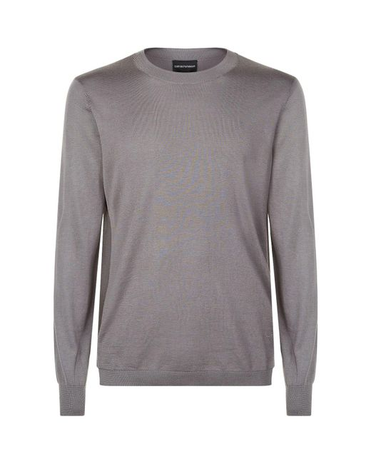 Armani - Gray Contrast Side Paneled Sweater for Men - Lyst