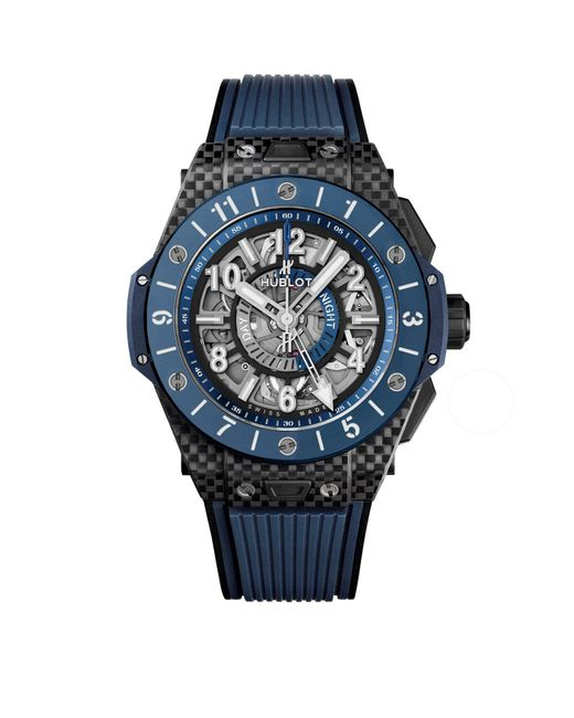Hublot - Blue Carbon And Ceramic Big Bang Unico Gmt Watch 45mm for Men - Lyst