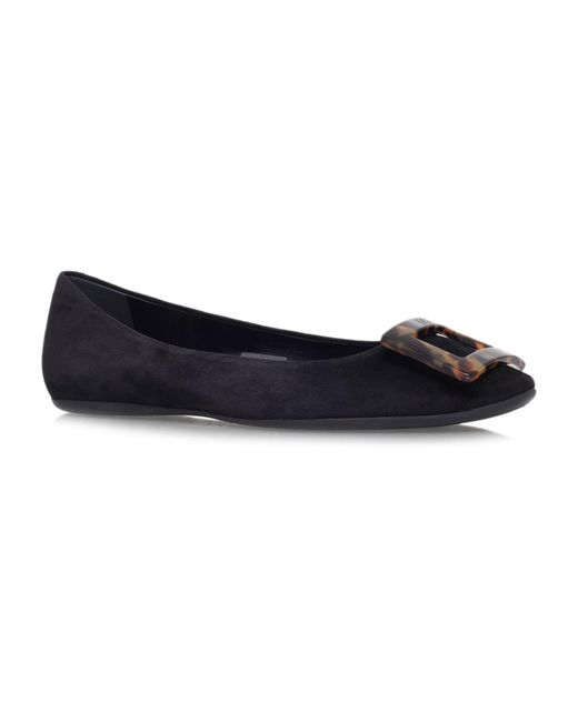 e34a92a7b Lyst - Roger Vivier Gommette Suede Ballerina Flats in Black