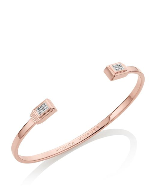Monica Vinader - Metallic Baja Deco Thin Diamond Cuff - Lyst