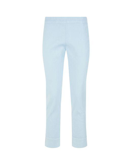 120% Lino - Blue Slim Fit Linen Trousers - Lyst