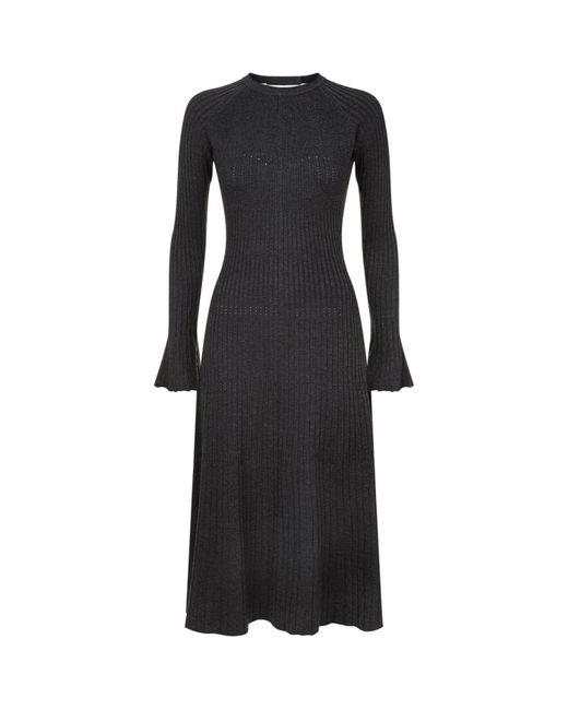 Sandro | Black Knitted Trumpet Sleeve Midi Dress | Lyst
