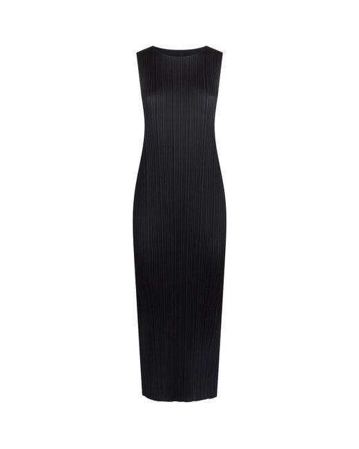Pleats Please Issey Miyake - Black Sleeveless Pleated Midi Dress - Lyst