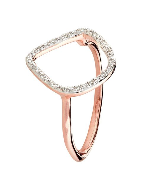 Monica Vinader | Pink Riva Rose Gold Plated Diamond Ring | Lyst