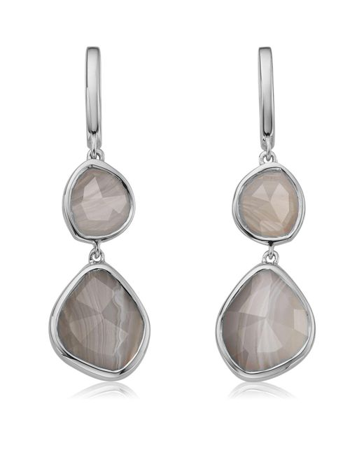 Monica Vinader - Metallic Siren Double Nugget Grey Agate Drop Earrings - Lyst