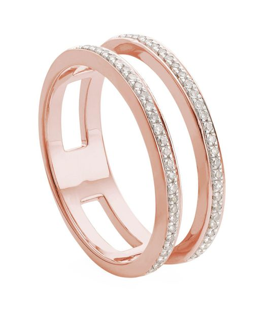 Monica Vinader - Pink Skinny Double Band Diamond Ring - Lyst