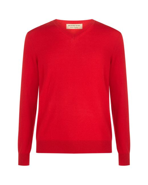 Burberry | Red V-neck House Check Elbow Patch Sweater for Men | Lyst
