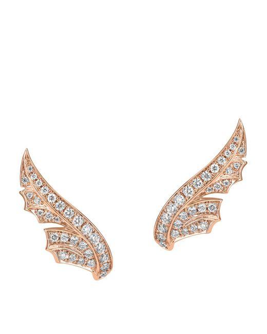Stephen Webster - Metallic Rose Gold And Pav Diamond Magnipheasant Stud Earrings - Lyst