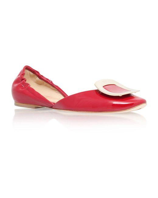 Roger Vivier | Red Patent Chips Ballerina Flats | Lyst