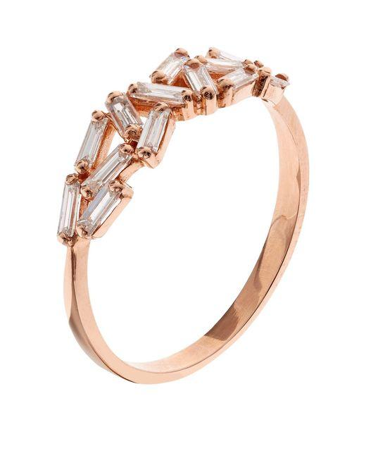 Suzanne Kalan   White Rose Gold Chevron Diamond Ring   Lyst