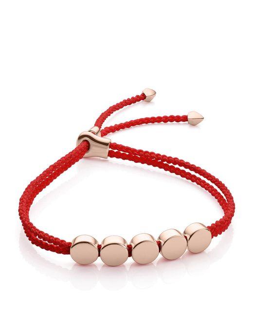Monica Vinader | Red Linear Bead Friendship Bracelet | Lyst