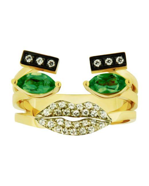 Delfina Delettrez | Green Emerald Portrait Ring | Lyst