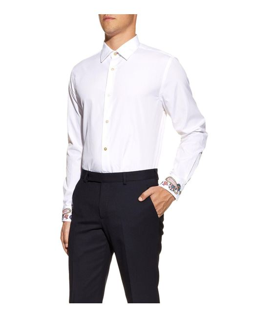 Paul smith embroidered cuff formal shirt in white for men