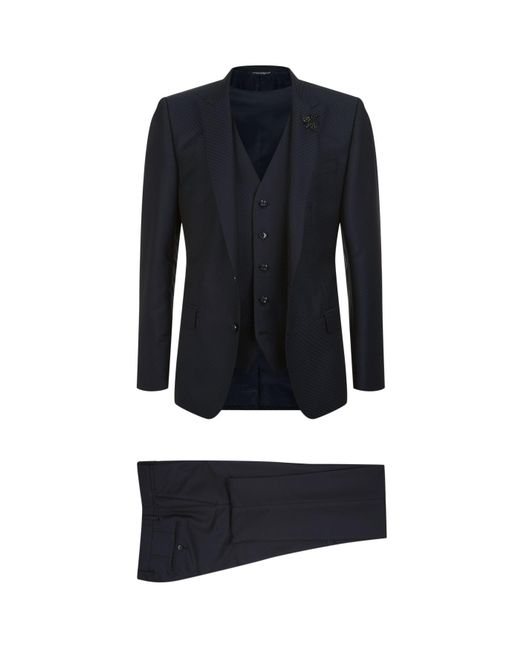 Dolce & Gabbana | Blue Bee Embroidered Three Piece Suit for Men | Lyst