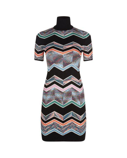 Missoni | Black High Neck Zig Zag Print Dress | Lyst