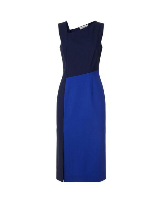 Diane von Furstenberg | Blue Asymmetric Midi Dress | Lyst