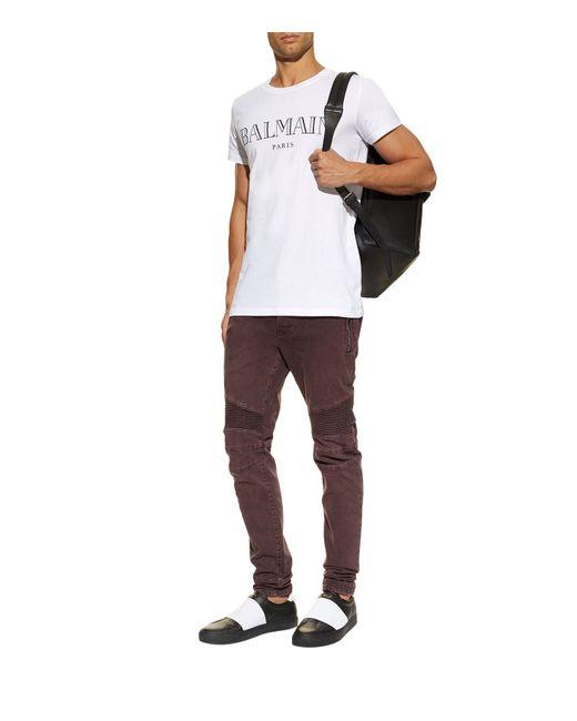 Balmain short sleeve logo t shirt in white for men save for Balmain white logo t shirt