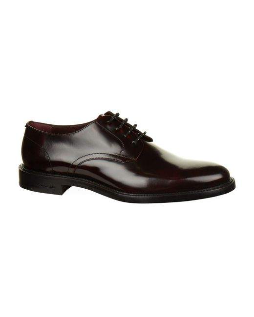 Burberry - Red Polished Leather Derby Shoes for Men - Lyst