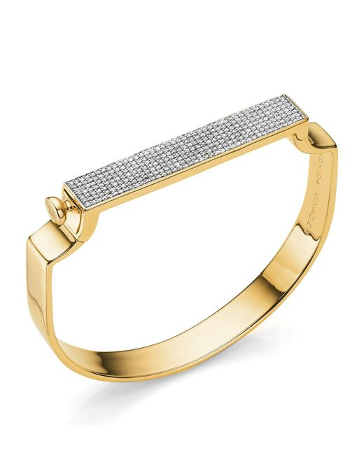 Monica Vinader - Metallic Signature Diamond Bangle - Lyst