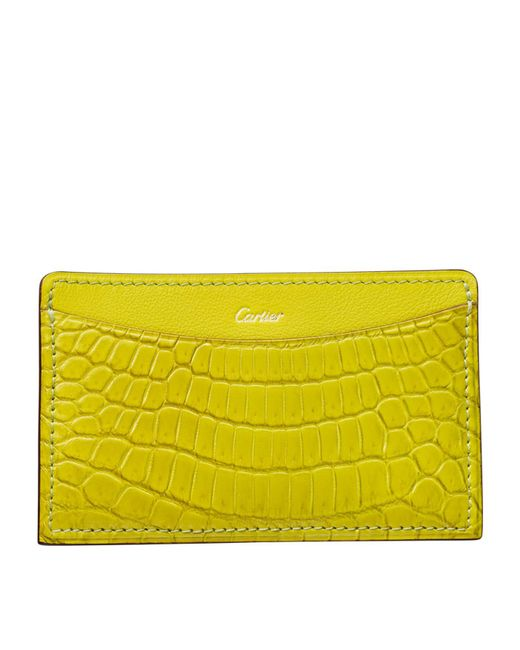 Cartier - Yellow C De Crocodile Card Holder - Lyst