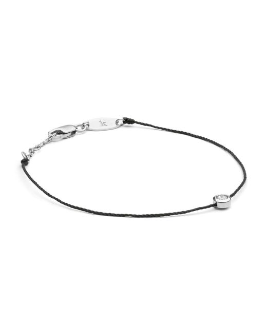 RedLine - White Gold And Diamond Pure Bracelet With Black Thread - Lyst