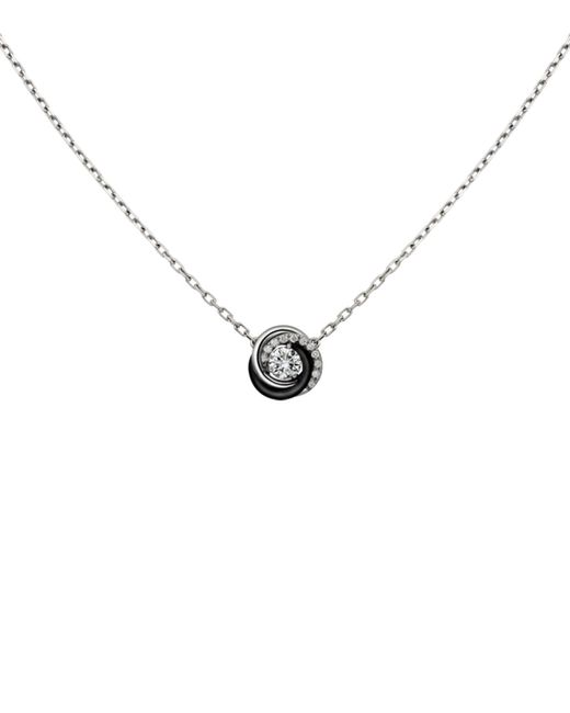 Cartier | Metallic White Gold And Ceramic Trinity De Diamond Pendant Necklace | Lyst
